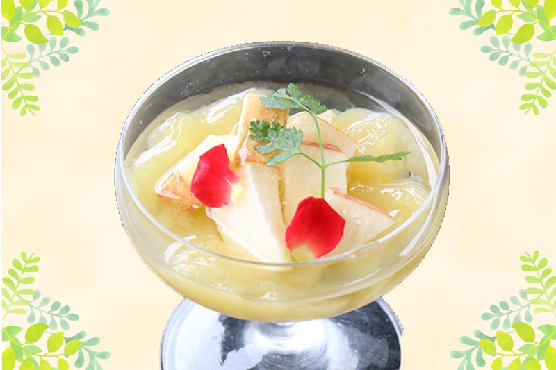 【水明館のシェフ直伝レシピ】飛騨のりんごジュースで作るりんごゼリー
