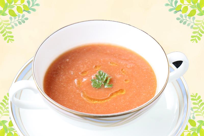 【水明館のシェフ直伝レシピ】飛騨のトマトジュースで作るガスパチョ