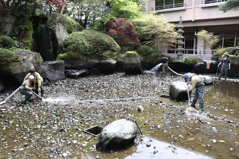 日本庭園のお掃除♪